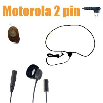 Covert wireless kit kevlar cable Motorola 2 pin MID BROWN