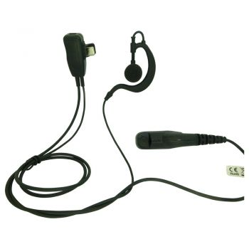 Value Motorola 2 pin Kevlar 1 Wire Headset with PTT Mic & G shaped  Ear speaker