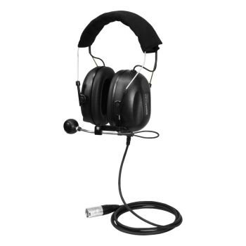 Swatcom Camera Headset 2 full earcups split ear listening 1.5m straight cable XLR5M connector