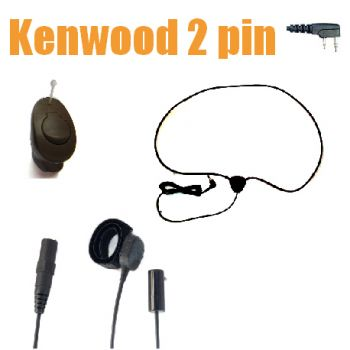 TC4 Wireless Earpiece kit for Kenwood 2 pin radios - ICM40 DARK BROWN