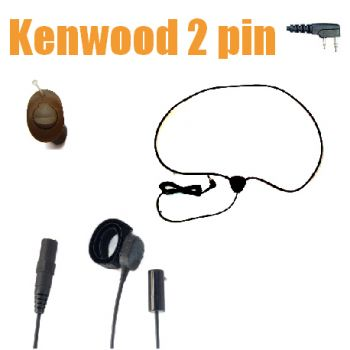 TC4 Wireless Earpiece kit for Kenwood 2 pin  radios - ICM40 MID BROWN