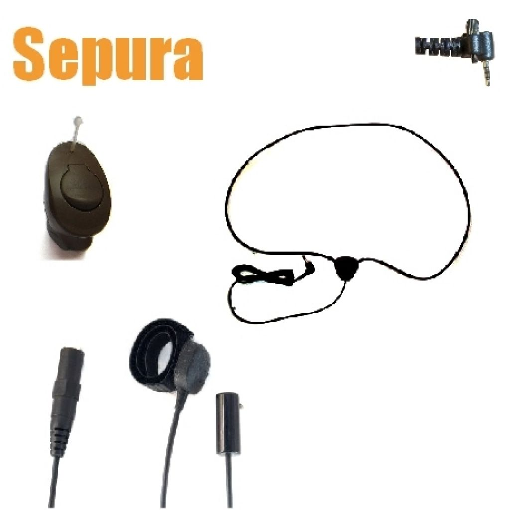 TC4 Wireless Earpiece kit for Sepura Tetra SRH3500 radio - ICM40 DARK BROWN