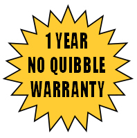 One year  no quibble warranty